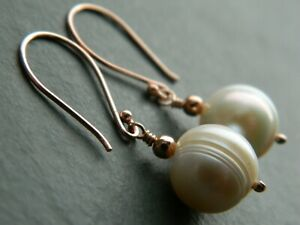 Large Ivory White Baroque Real Freshwater Pearls, 24K Rose Gold Vermeil Earrings
