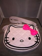 HELLO KITTY SANRIO WHITE QUILTED FAUX LEATHER PINK BOW MEDIUM SHOULDER HANDBAG