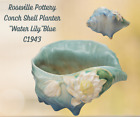 Vintage ROSEVILLE Pottery-CONCH SHELL Planter-WATER LILY Blue-C1943