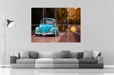 VOLKSWAGEN BEETLE BLUE VINTAGE Art Poster Grand format A0 Large Print