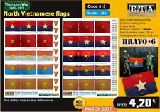 Nord-Vietnamien drapeaux - 1/35 SCALE - 2 Feuilles-Comprend Vietnam Argent