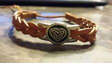 Irish Pewter Celtic Heart Tan Leather Woven Adustable Bracelet