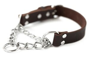 Mighty Paw Leather Training Collar, Martingale Collar, Stainless Steel Chain