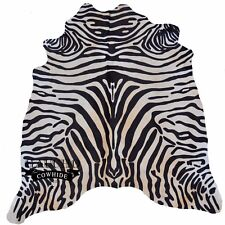 NEW Special Zebra Stenciled Exotic Cowhide Rug - USA Free Shipping