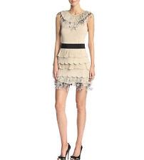 VALENTINO $4,800 tiered pleated ostrich feather beige tan knit mini dress L NEW