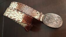 GUESS WOMEN'S GENUINE LEATHER BELT BROWN BEIGE WESTEREN  COWBOY STYLE SIZE S
