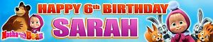 2 X MASHA AND BEAR PERSONALISED BIRTHDAY BANNERS