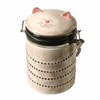 Ceramic Cat Treat Cookie Jar - Sealable Kitchen Canister