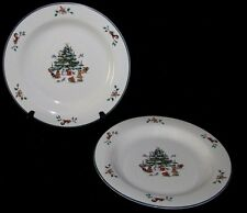 2 Ming Pao Woodland Christmas Salad Plates Tree with Animals
