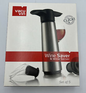 Vacu Vin Stainless Steel Wine Saver Pump with 2 Stoppers + 2 Servers
