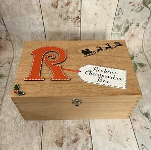 Personalised Wooden Christmas Eve Box with Poem Inside Rustic Traditional Large