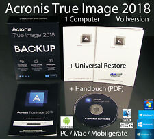 Acronis True Image 2018 Vollversion 1 PC/Mac Box, CD + Universal Restore OVP NEU