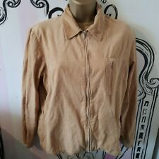 Womens Size 14-16 Vintage TOM TAILOR WOMAN Beige Zip Up Cord Shirt Corduroy