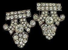 Vintage ART DECO Sterling Silver Faux Diamond Paste Pair Dress Clips
