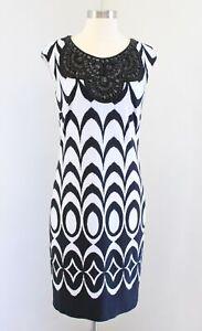 Frank Lyman Design Black White Printed Beaded Embellished Sheath Dress Size 6