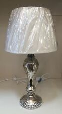 Vintage Boudoir Distressed Silver Diamonte Traditional Lamp Off White Shade NEW
