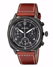 Bulova Men's 98B245 UHF Military Collection Chronograph Brown Leather Watch
