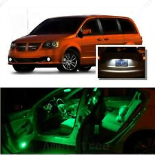 For Dodge Grand Caravan 2008-15 Green LED Interior Kit + White License Light LED
