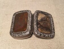 Antique 18th Century Sterling Silver Double Side Moss Agate Ornate Snuff Box