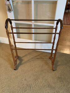 Antique Vintage Oak Wood Quilt Blanket Rack Stand