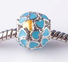 1pcs Painted love Sky Blue big hole Beads Fit European Charm Bracelet DIY A804