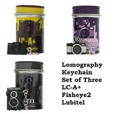 3 Lomographic Society Camera Keychains in Collectible Canisters Lomo FREE SHIP