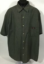Genuine Dickies Men's Shirt - Black and White Plaid Front Button - Size L 42-44