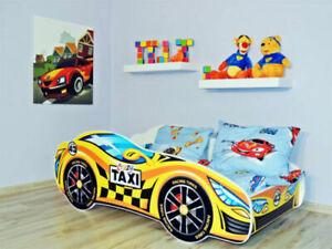 Racing Car Bed YELLOW, Children Boys Girls Bed with MATTRESS 140x70cm +pillow