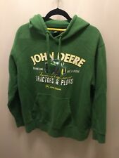 "John Deere GREEN HOODIE ""Nothing Runs Like A Deere"" PULLOVER front pocket LARGE"