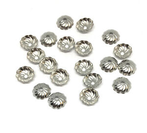 stainless steel corrugated scalloped bead caps 8mm x 2mm