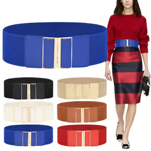 Simple Style Women Waistband Buckle 7.5cm Wide Stretch Elastic Corset Waist Belt