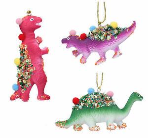 3 x Gisela Graham  Hanging pom pom Dinosaur Christmas Decorations