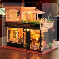 Dollhouse DIY Model Kit w/ Cover France Paris Cafe Tour Coffee Store Bakery Shop