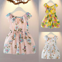 Toddler Kid Baby Girls Floral Printed Party Princess Dress Clothes Outfits