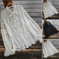 ZANZEA 8-24 Women Long Sleeve Tee Shirt Neck Tie Sheer Top Floral Lace Blouse