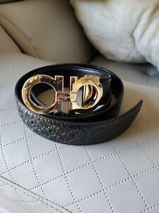 "FERRAGAMO Gold Buckle Black Belt Size 44"""