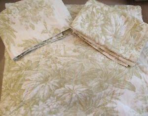 Pottery Barn Matine Sprout Green Toile Linen Cotton Full/Queen Duvet Cover Shams