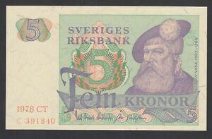 Sweden 5 Kronor  1978  UNC  P. 51,    Banknotes, Uncirculated
