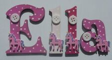 UNICORN Wooden Letters Childrens Name Door Sign (PRICE PER LETTER) Pink