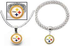 3 Piece Set Pittsburgh Steelers Super Fan Bracelet + Necklace + Ring Set D2-1