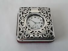 Antique solid silver Swiss made pocket watch in silver travel case. ~ Working.