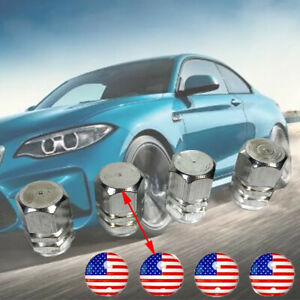 4x Wheel tire cap Silver Aluminium air valve stem Cover American Flag Sticker