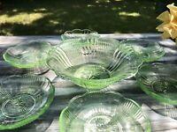 Antik Art Déco Set Schale & 6 Schälchen Pressglas Glasschale grün Uranglas Schön