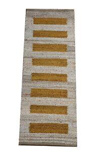 Hand loom Jute Runner Rugs Handmade Decorative Yoga mat Rug throw carpet 2x6-53