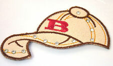 BASEBALL CAP & STUDS HAT  Embroidered Iron Sew On Cloth Patch Badge  APPLIQUE