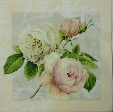 ROSES SHABBY VINTAGE 2 individual LUNCH SIZE paper napkins for decoupage 3-ply
