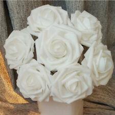 50x Schaumrosen Kunstblumen Rosenköpfe Rosenblüten Weiß Hochzeit Deko Foamrosen