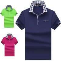 New Polo Shirt Men Casual Short Sleeve Solid Color Cotton Anti Shrink Polo Shirt