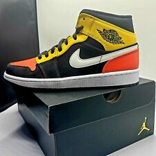 New in BOX Nike Air Jordan 1 Mid SE Black Amarillo Orange Raygun Men's Size 10