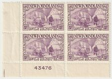 1947 Newfoundland - 450th Discovery Newfoundland - Block 4 x 5 Cent Stamps & Tab